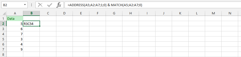 Address and Match in a Respective Formula