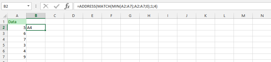 Min Match and Address in a Single Formula