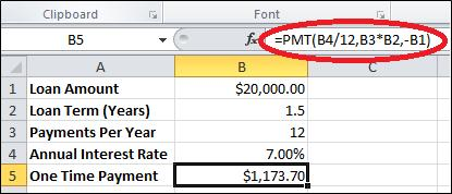 Amortization PMT function