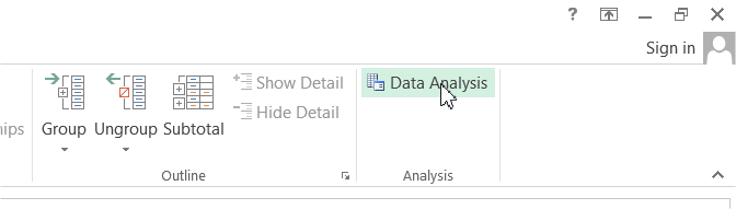 Data Analysis ribbon button
