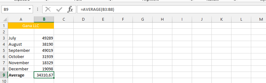 Simple Average Function Usage