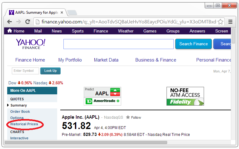 Yahoo Apple Historical Prices