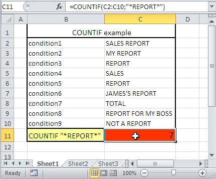 COUNTIF contains string of text