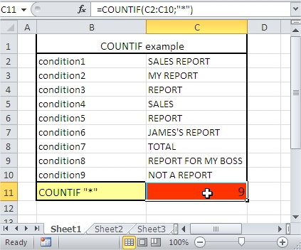 COUNTIF contains text