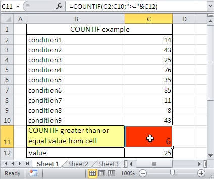 COUNTIF greater equal than cell value