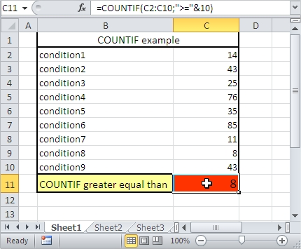 COUNTIF greater equal than