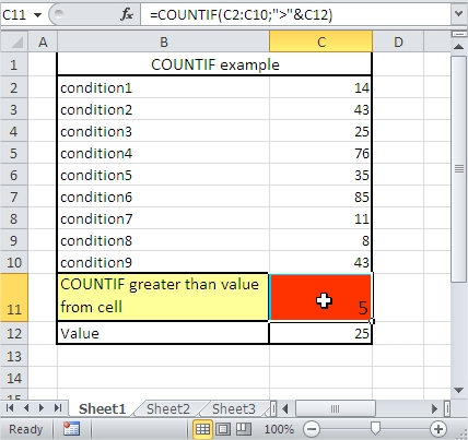 COUNTIF greater than cell value