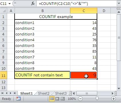 COUNTIF not contain text