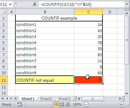 COUNTIF not equal