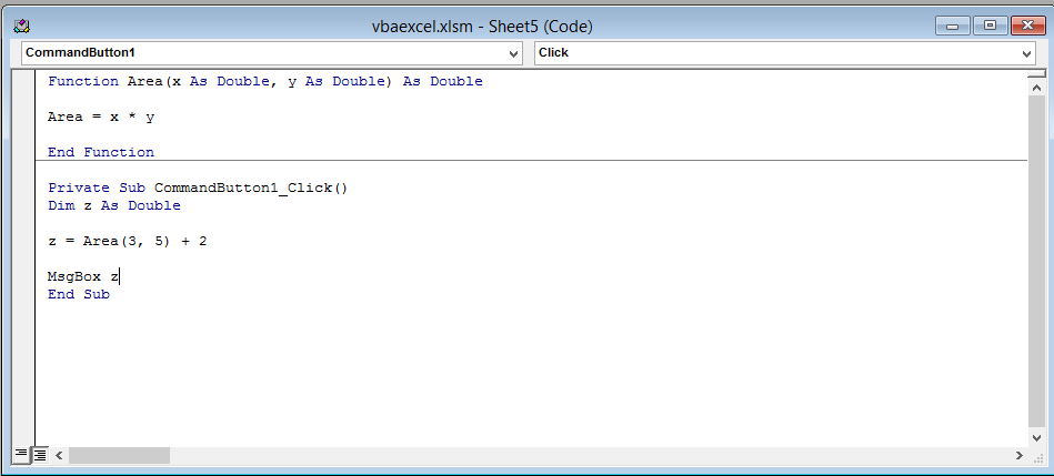 Create Function VBA code