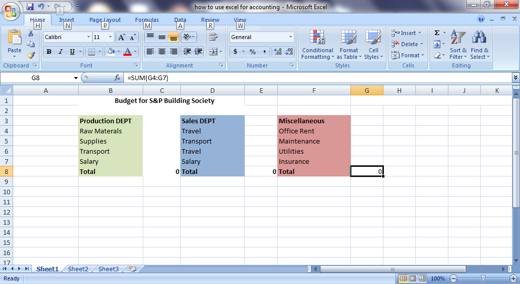 best excel tutorial how to create a company budget