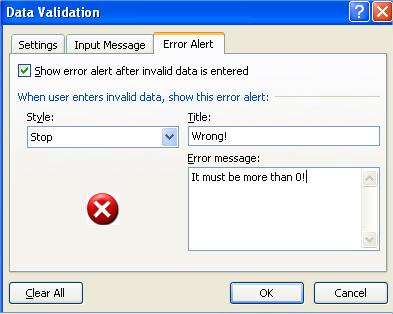 Data Validation Error Alert