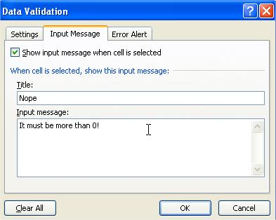Data Validation Input Msg