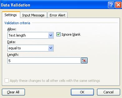 Data Validation Specific