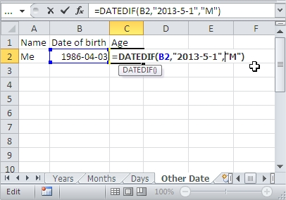 DateDifference Other Date Excel