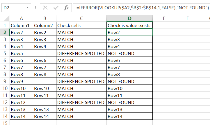 Cells Difference Check Value