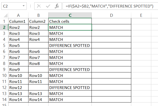 Columns Difference check cells