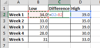 calculate difference