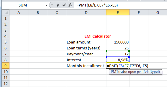 How to calculate EMI? « Excelprovegue