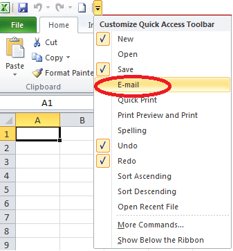 Email Quick Access Toolbar