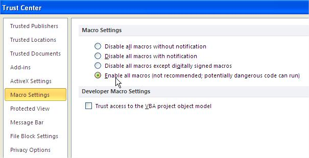 Enable Macros Excel 2010