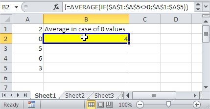 Excel Average zeros