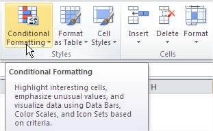 /Excel Conditional Formatting Button Ribbon