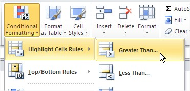 Excel Conditional Formatting Format Rule Greater Than