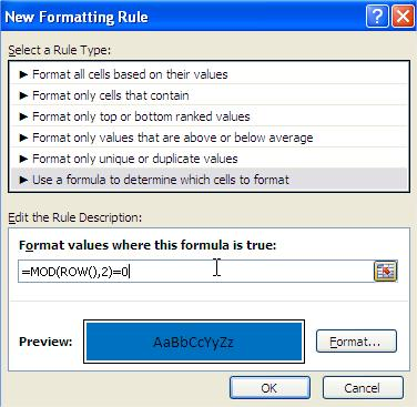Excel Conditional Formatting Rule Formula