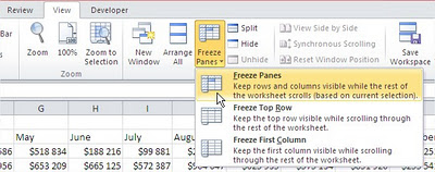 Best excel tutorial freeze panes and split excel freeze panes ribbon ccuart Gallery