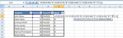 Excel IF function logical test
