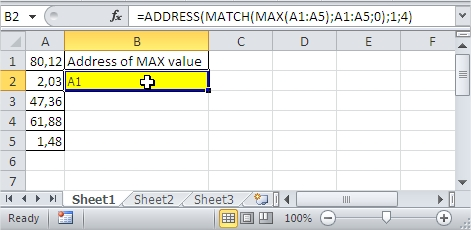 Excel MAX value range