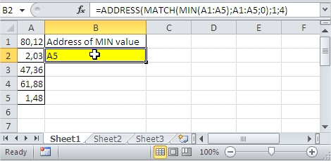 Excel MIN value range