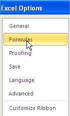 Excel Options Formulas