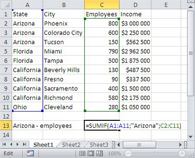 Excel SUMIF table