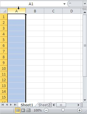 Excel Select Column