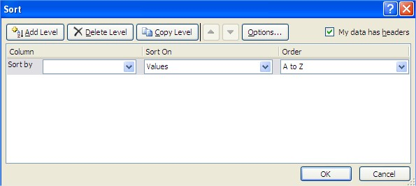 Excel Sort dialog box