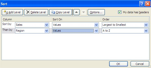 Excel Sort second level