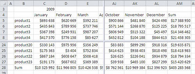 Excel Splited Worksheet