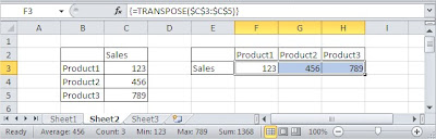 Excel TRANSPOSE array formula