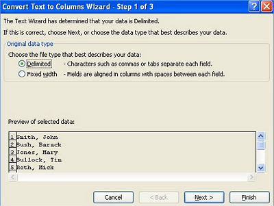 Excel Text to Columns Convert Text to Columns Wizard