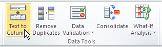 Excel Text to Columns Ribbon button