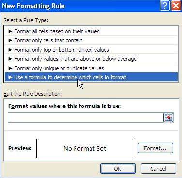 Excel Use a formula to determine which cells to format