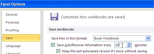 auto file recovery Excel Options auto recover frequency