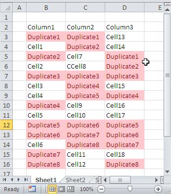 Excel compare columns find duplicates