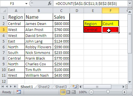 Excel database functions dcount