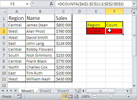 Excel database functions dcounta