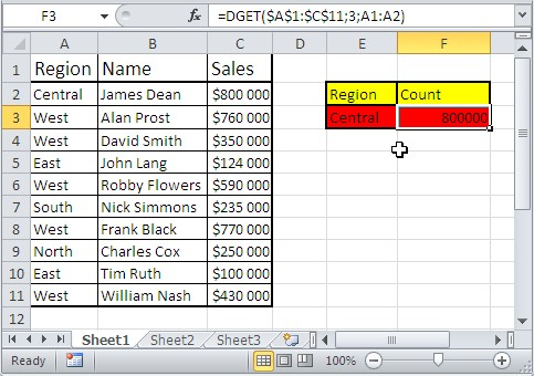 Excel database functions dget