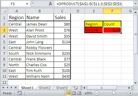 Excel database functions dproduct