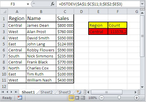 Excel database functions dstdev